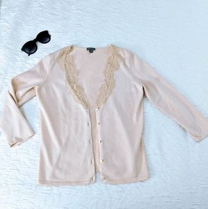 Beautiful! Ann Taylor baby pink cardigan